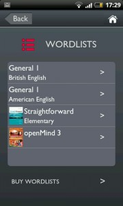 Wordlists screen
